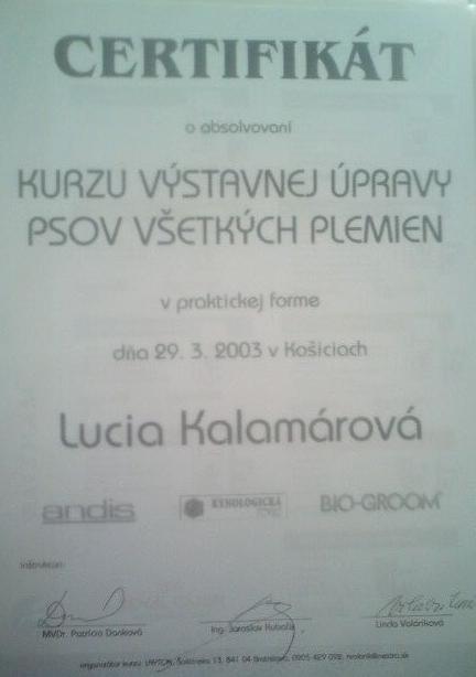 STRIHANIE PSOV - PRAX VYŠE 10 ROKOV  CERTIFIKÁT  113cf03e184